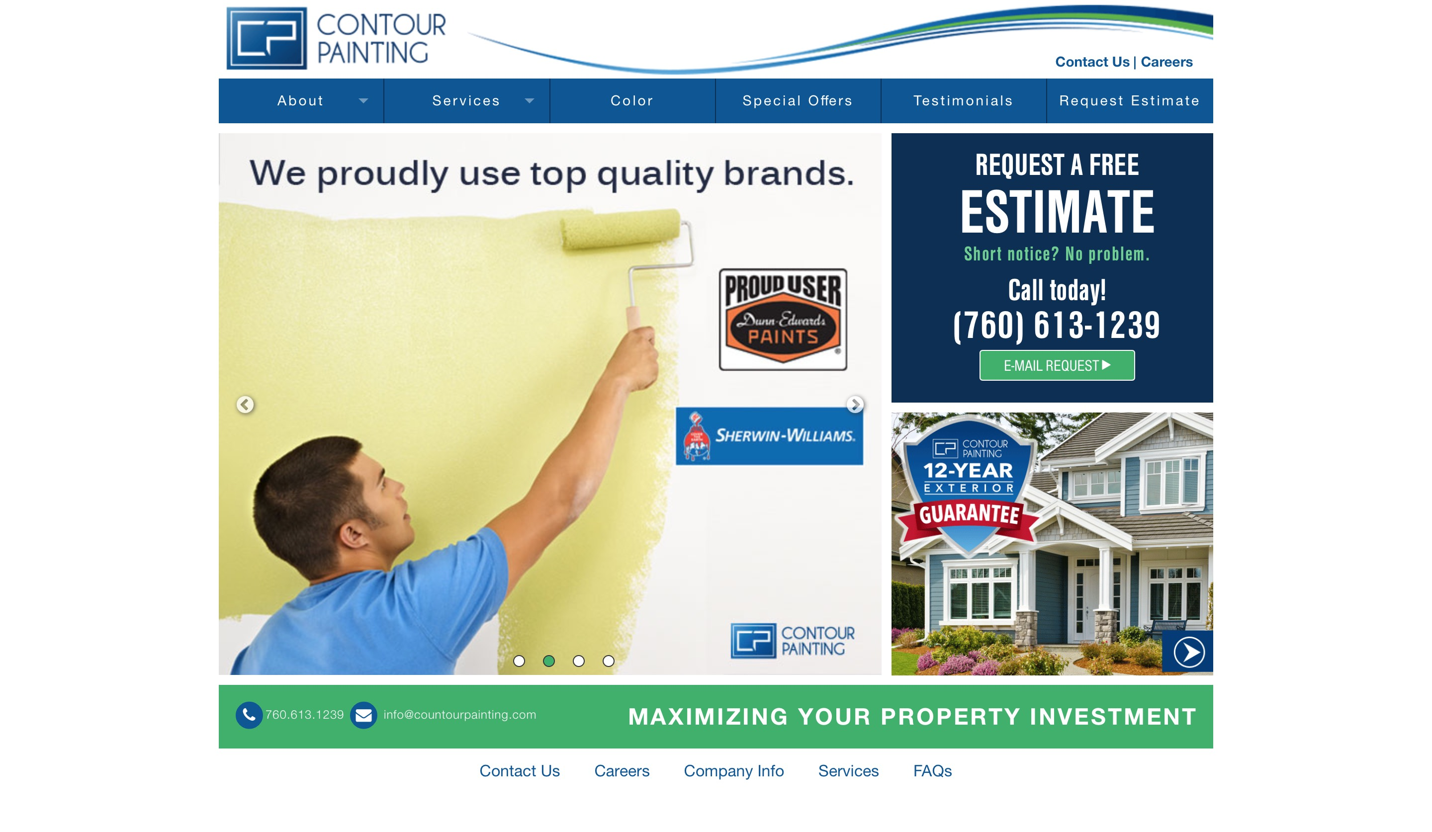 Countour Painting website home page screenshot