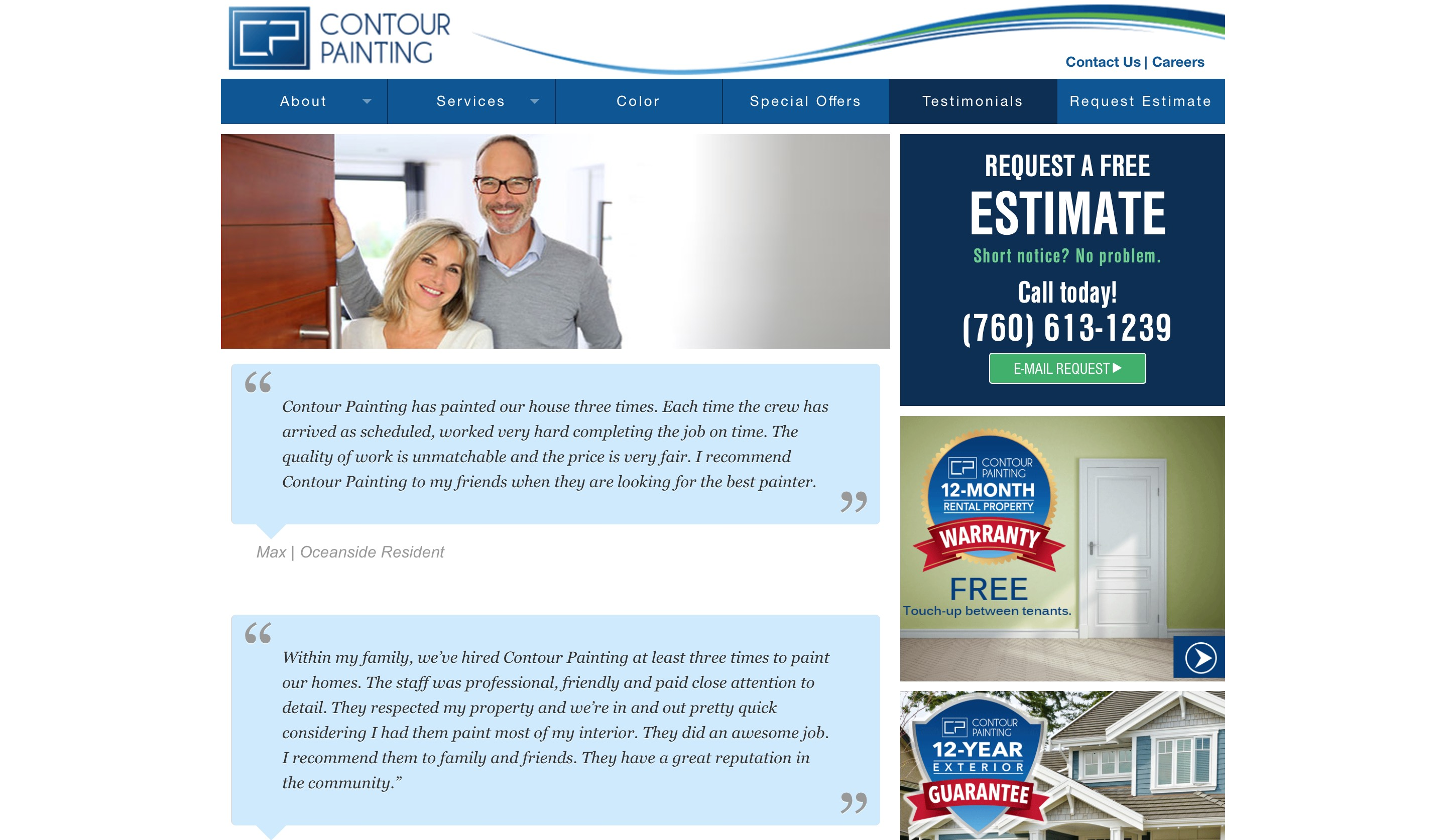 Countour Painting website testimonials page screenshot