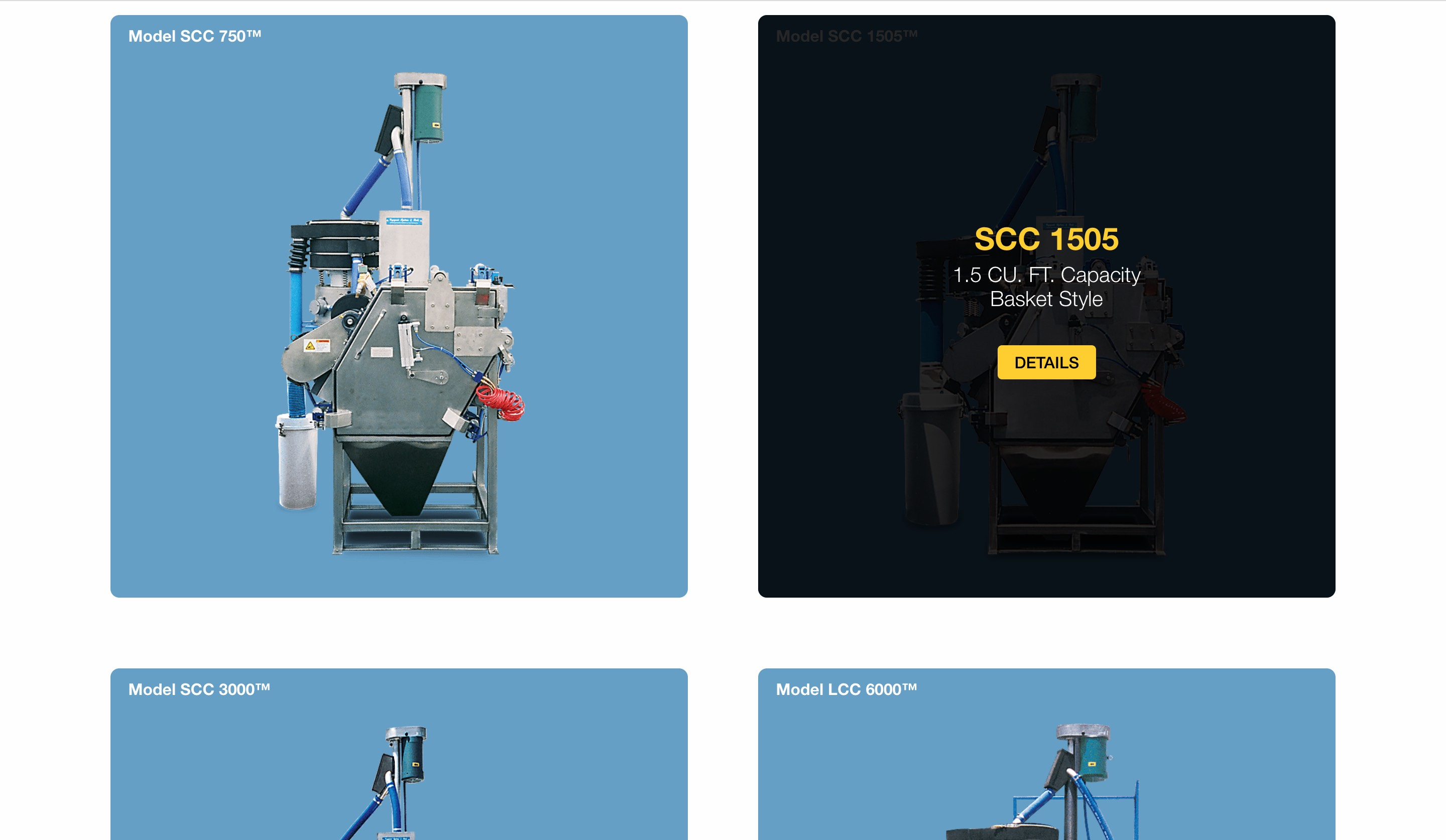 Cryogenic Systems equipment page screenshot