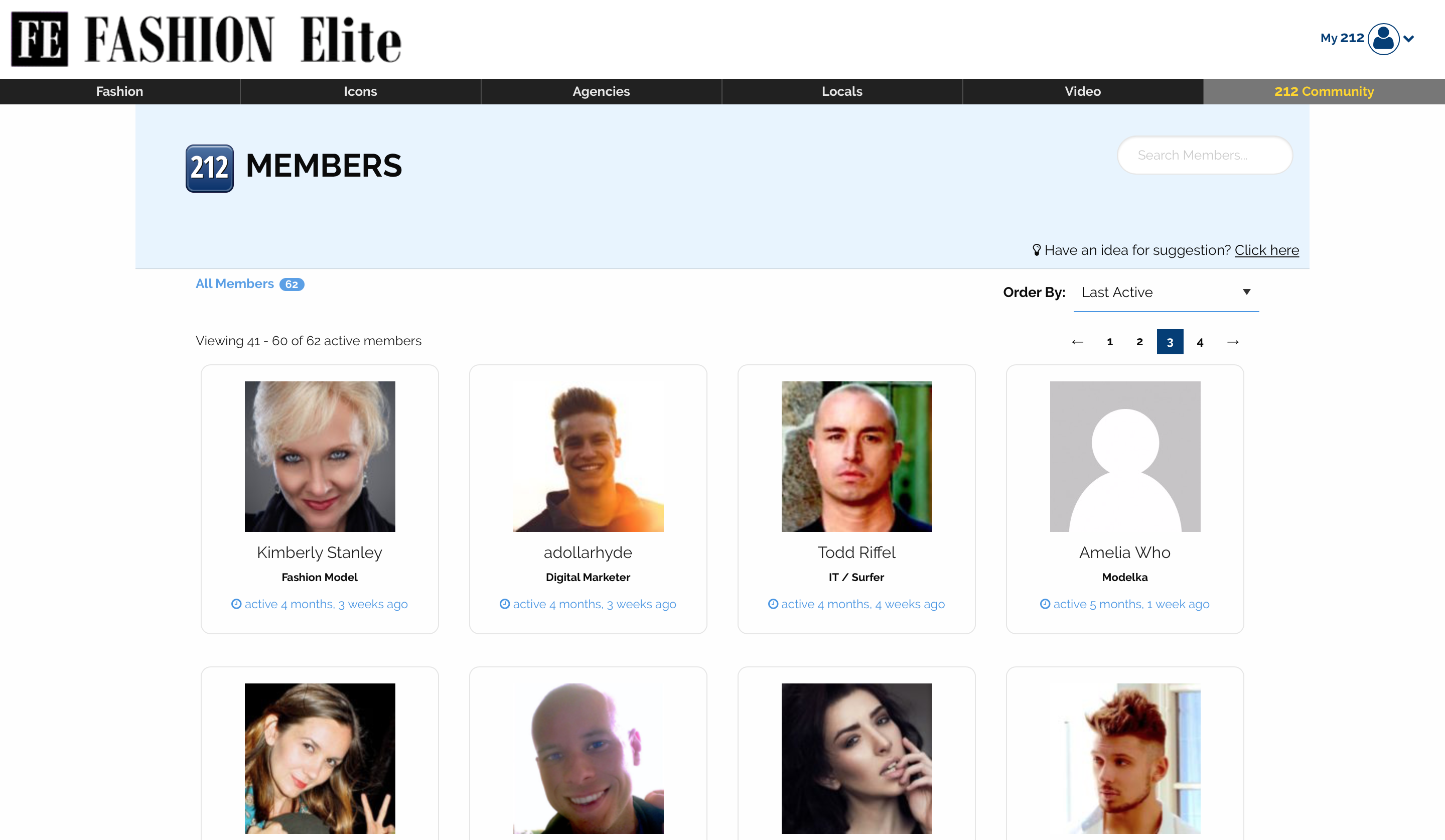 Fashion Elite members page screenshot