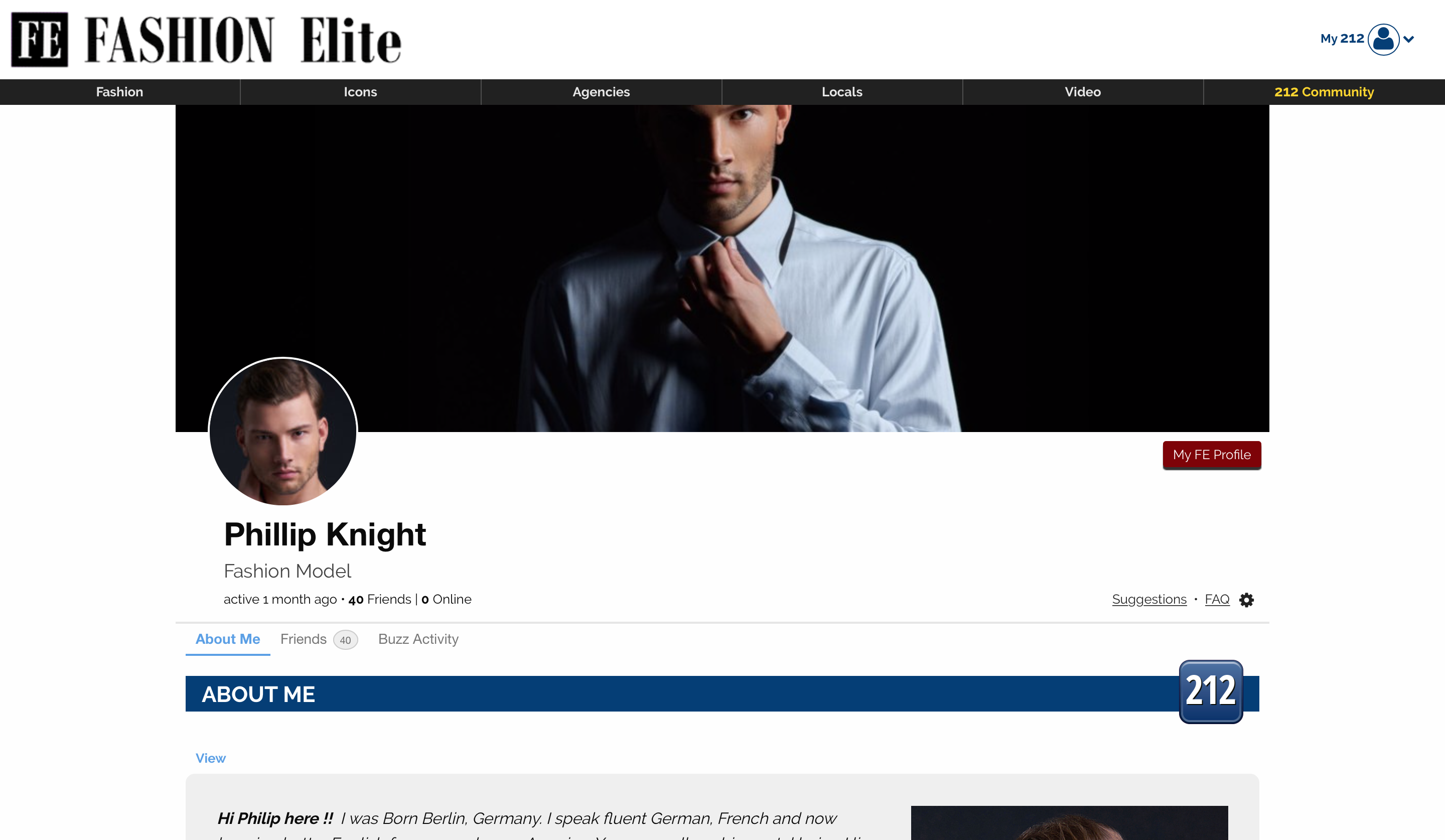 Fashion Elite profile page screenshot
