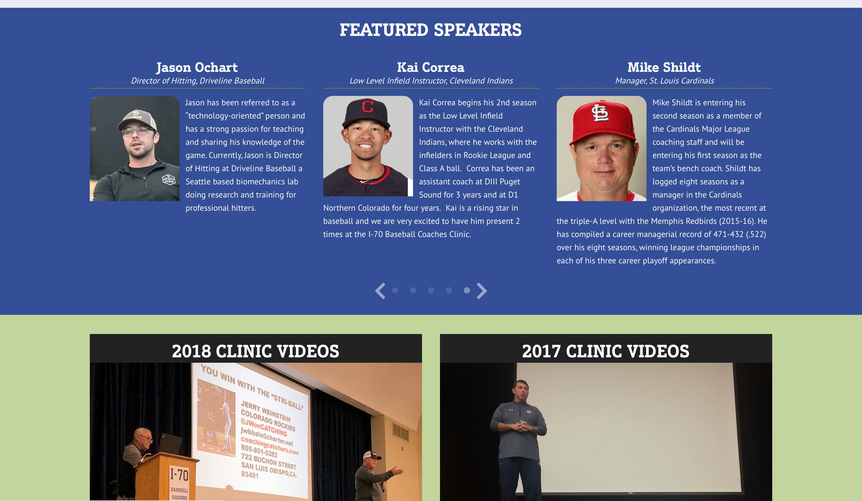 I-70 Baseball Coaches Clinic website featured speakers screenshot