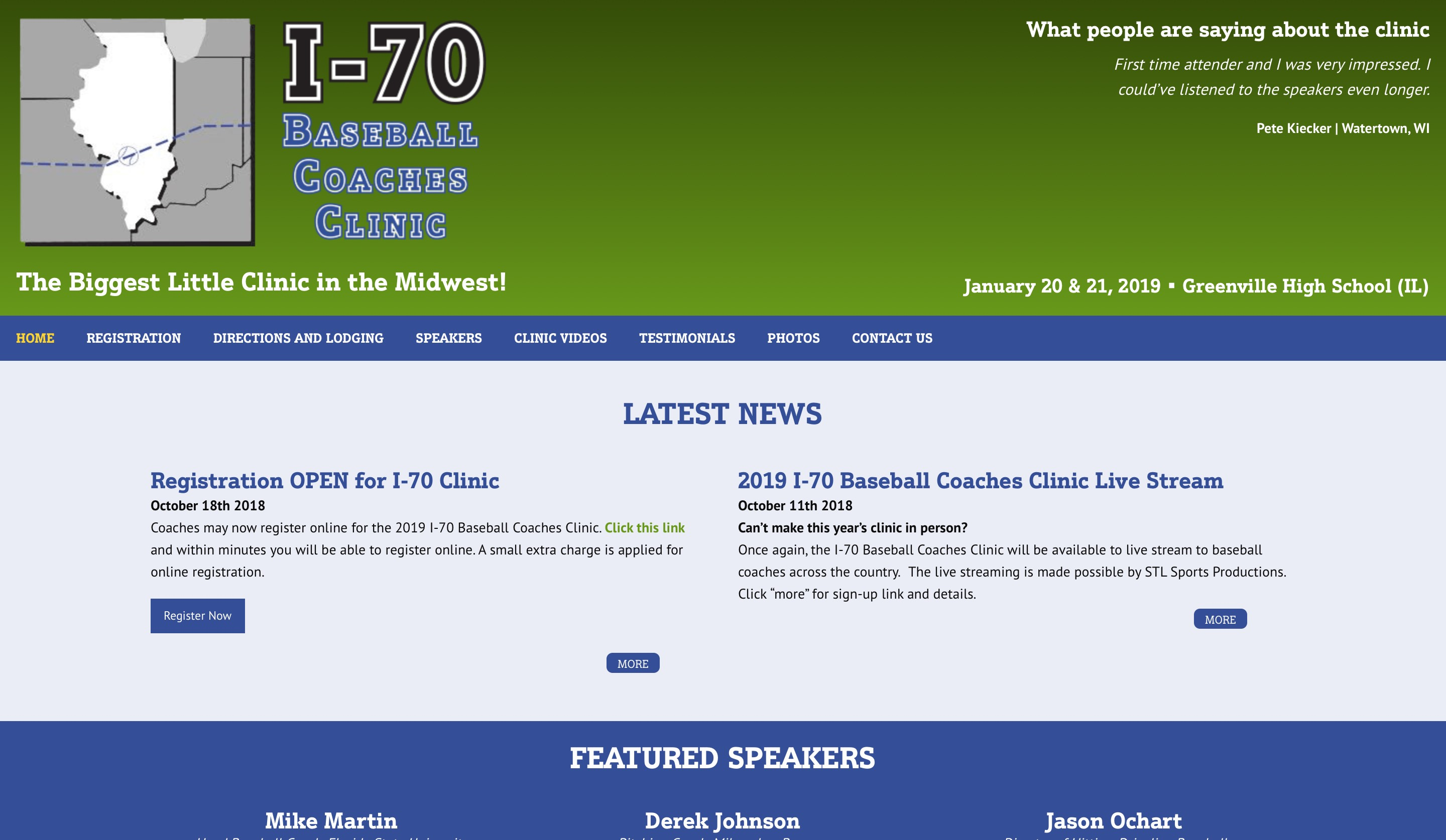I-70 Baseball Coaches Clinic website home page screenshot