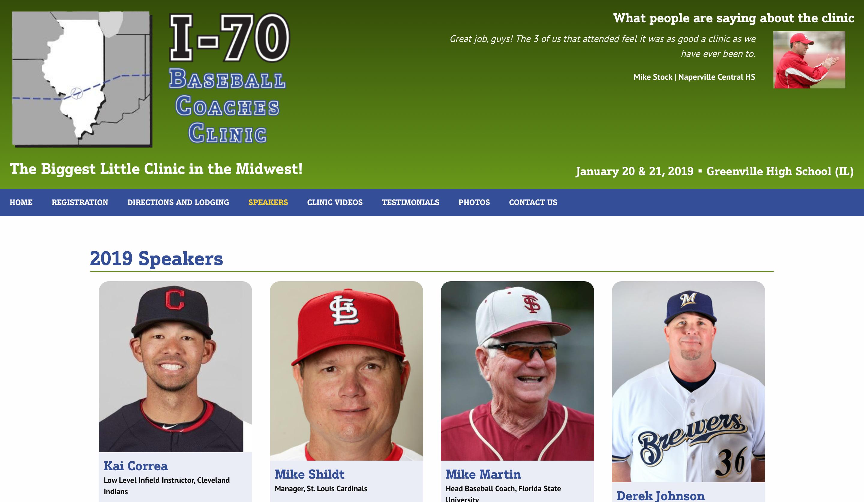 I-70 Baseball Coaches Clinic website speakers page screenshot
