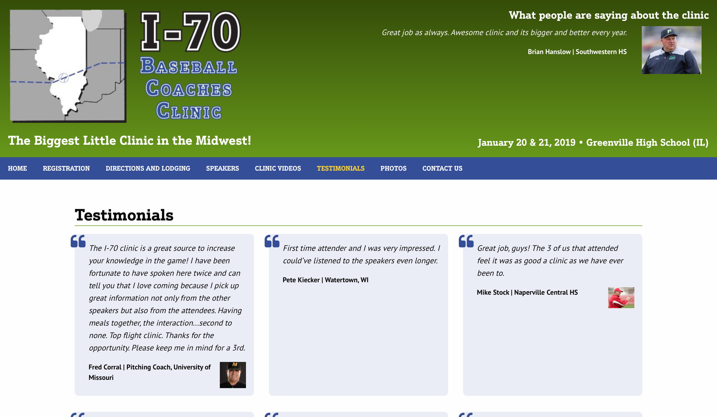 I-70 Baseball Coaches Clinic website testimonials page screenshot