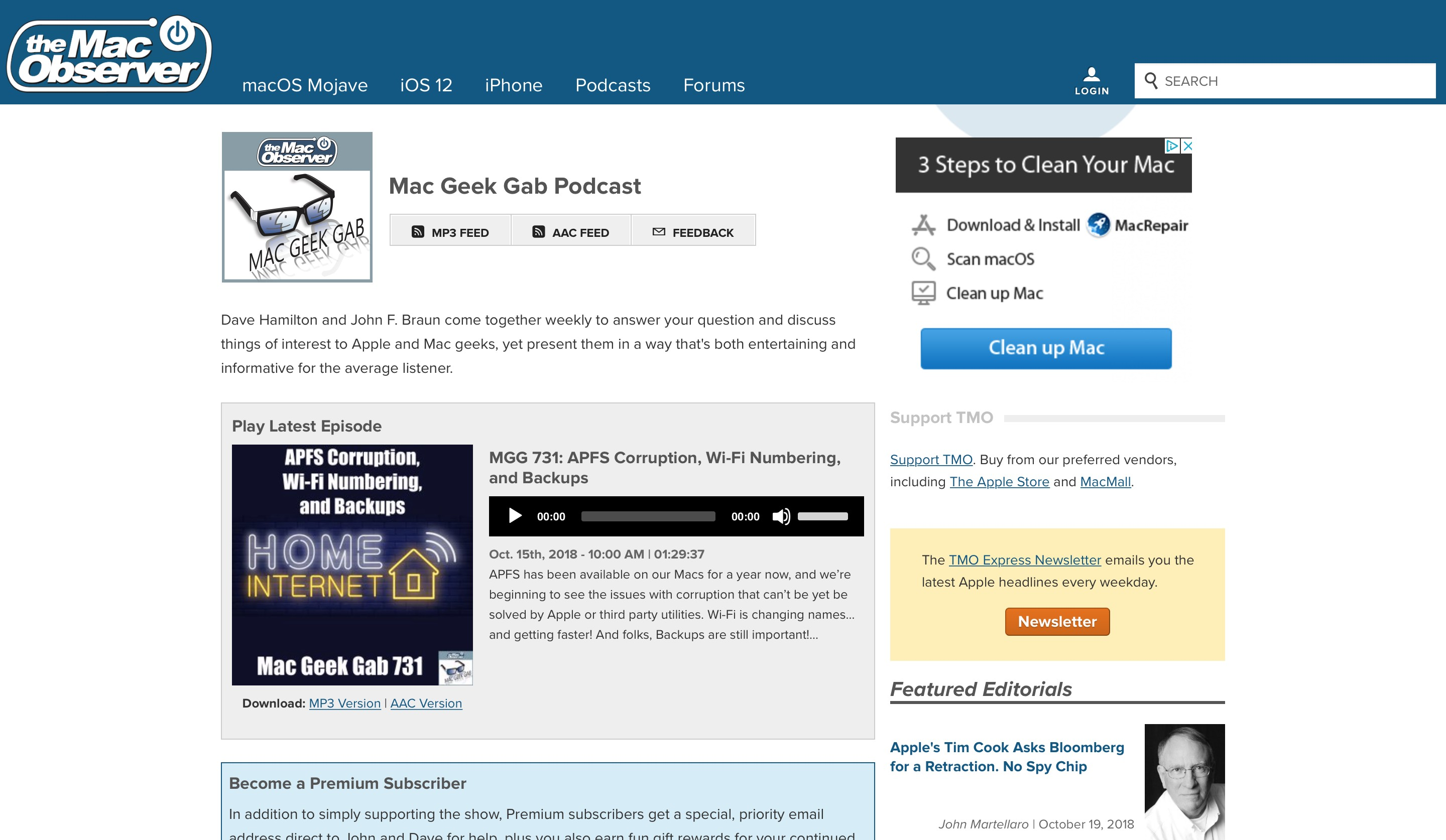The Mac Observer website podcast page screenshot