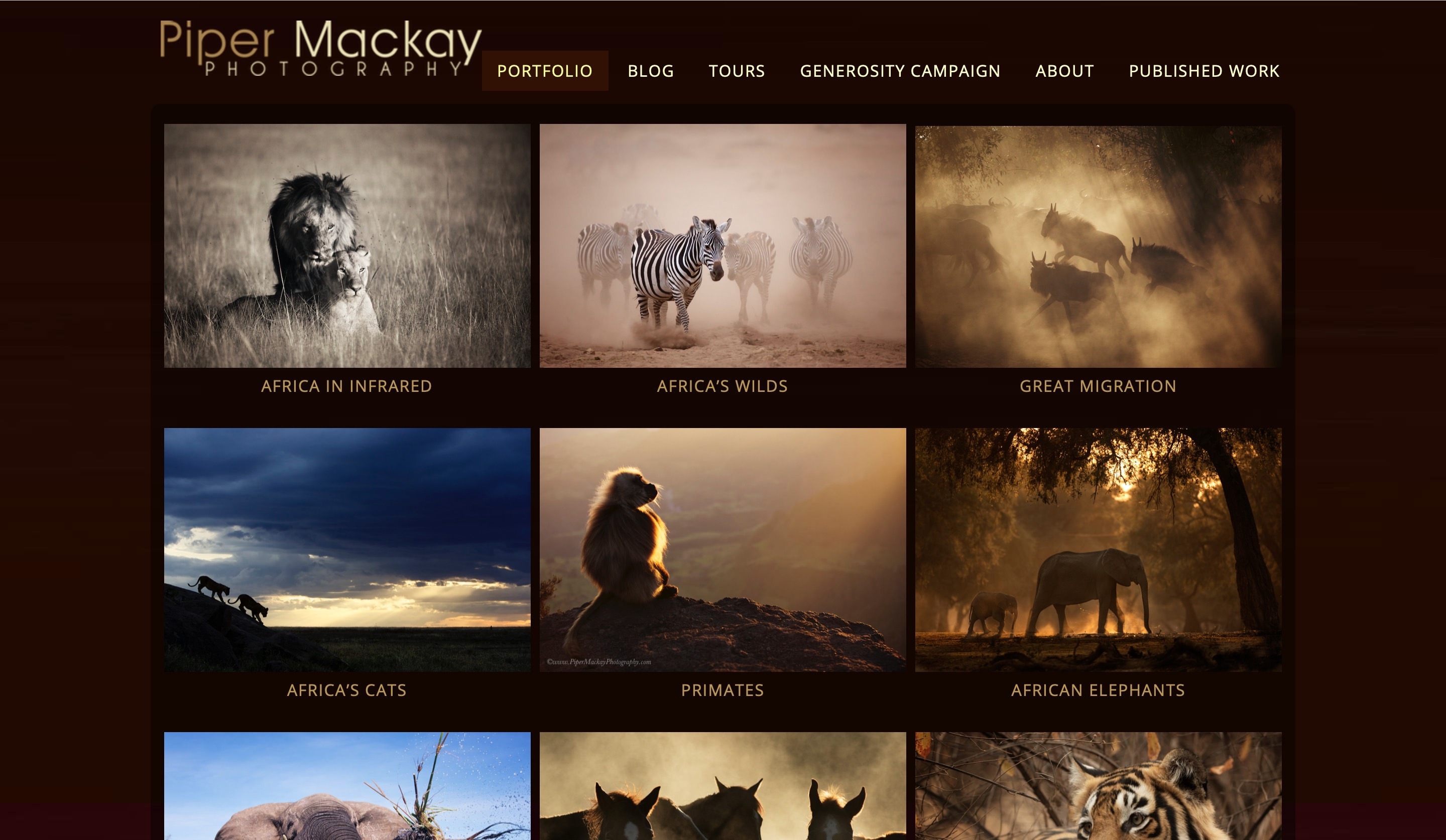 Piper Mackay website portfolio page screenshot