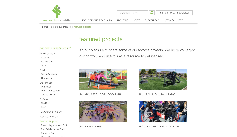 Recreation republic website featured page screenshot