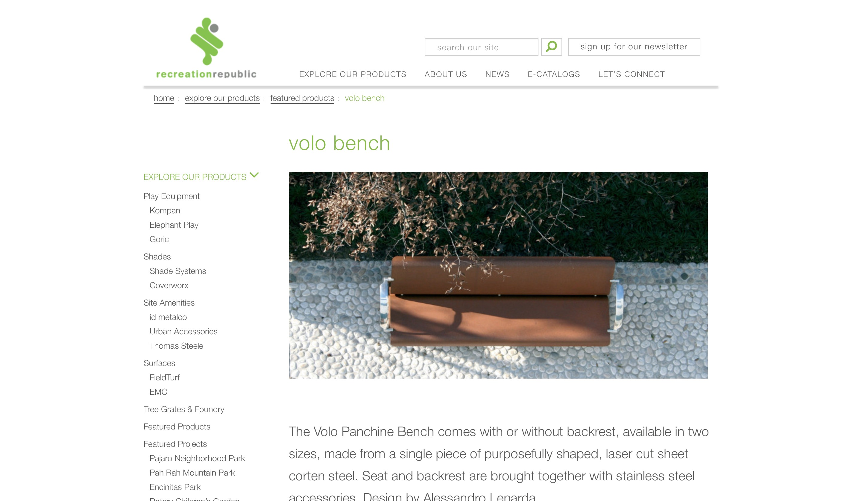 Recreation republic website product page screenshot