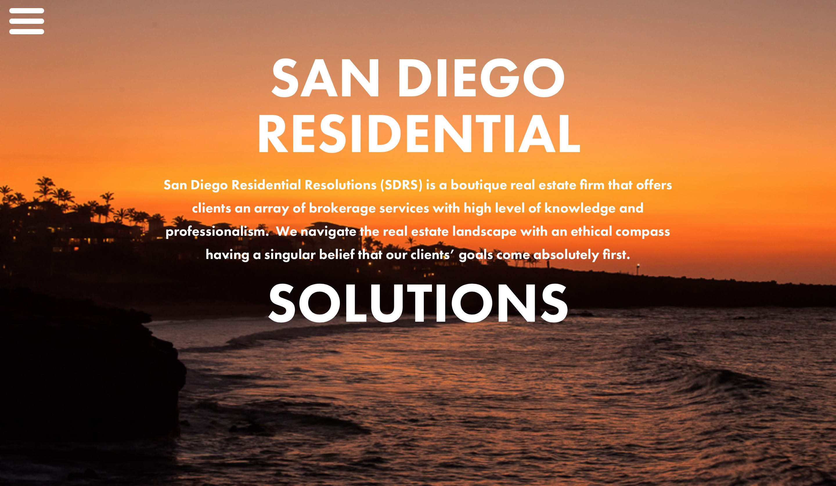 San Diego Residential Solutions home page screenshot