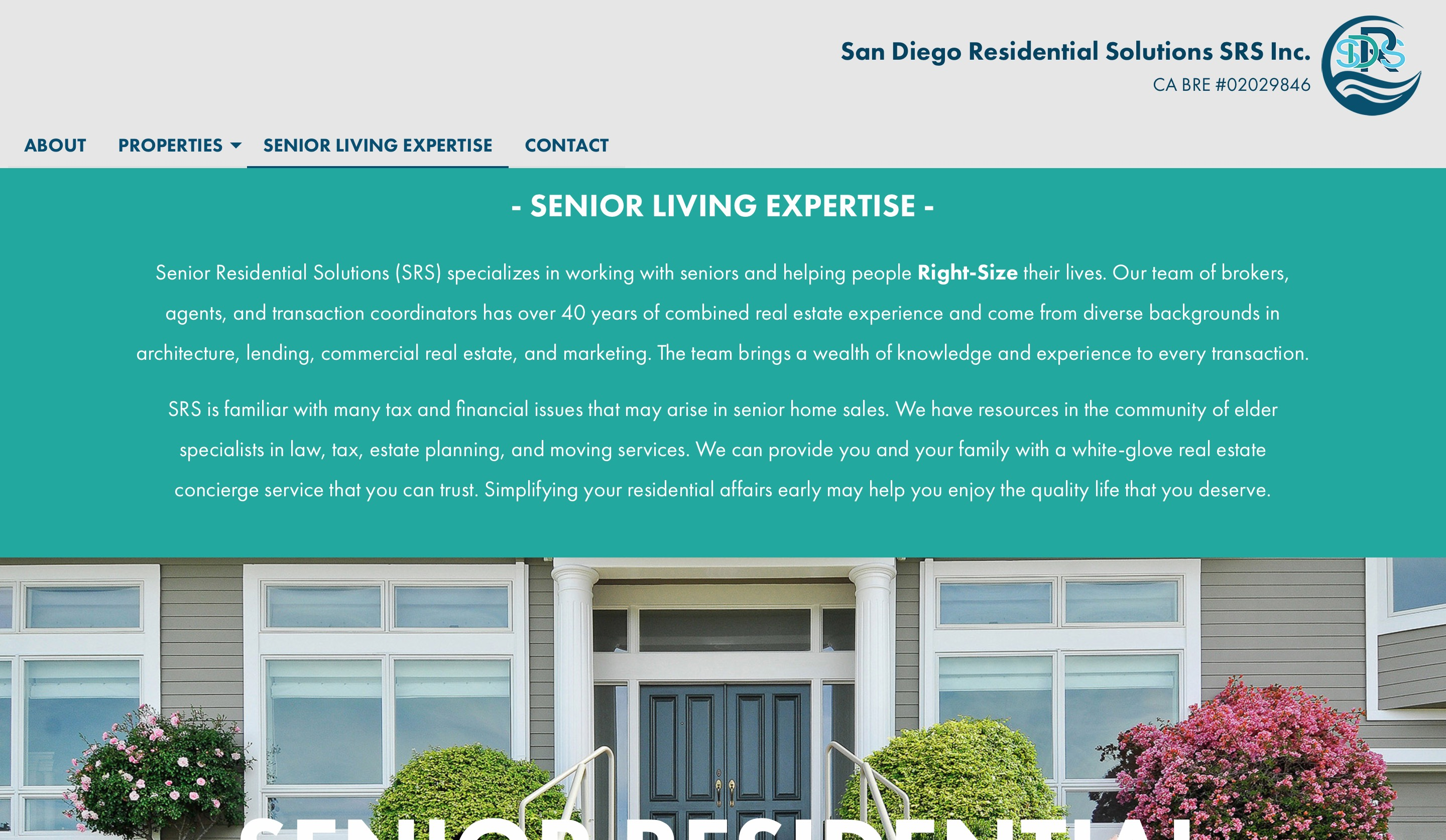 San Diego Residential Solutions senior living page screenshot