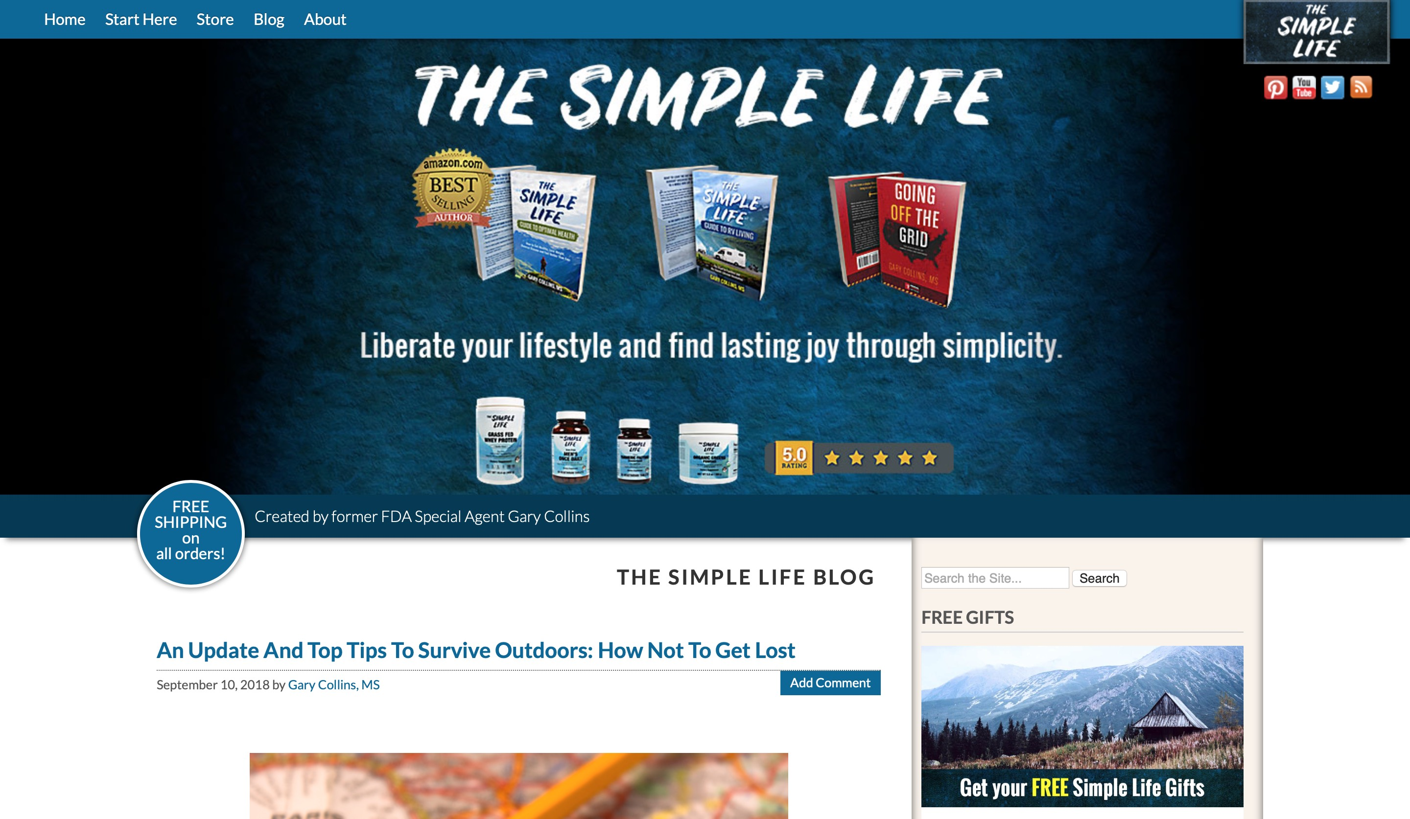 The Simple Life home page screenshot