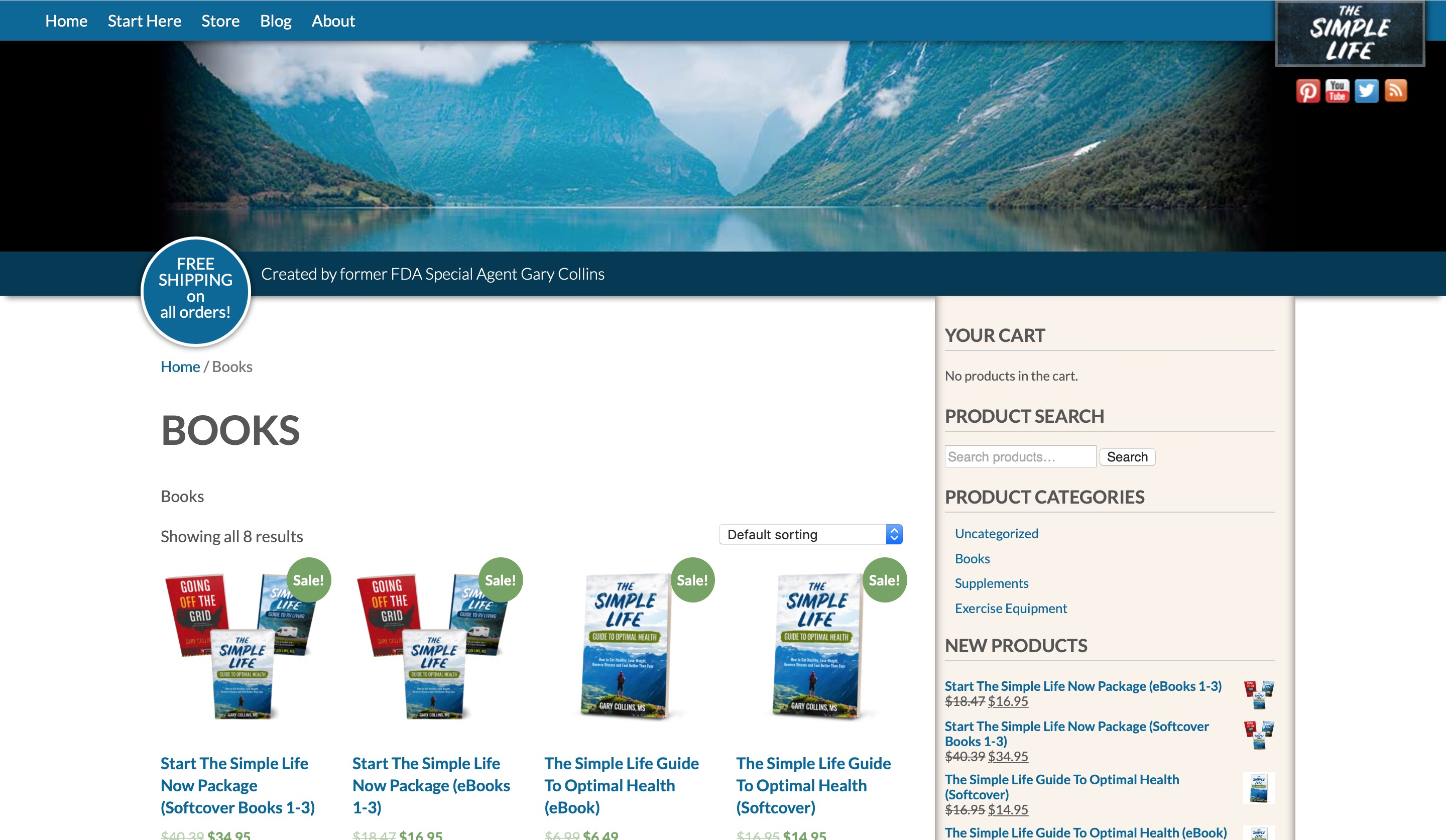 The Simple Life products page screenshot